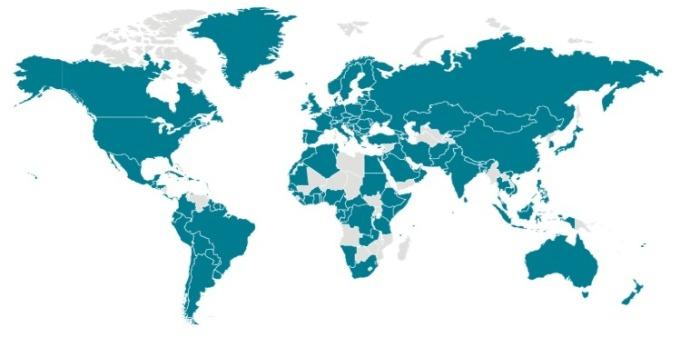 世界各國染疫 (青色) 情況。 (圖片:CDC)