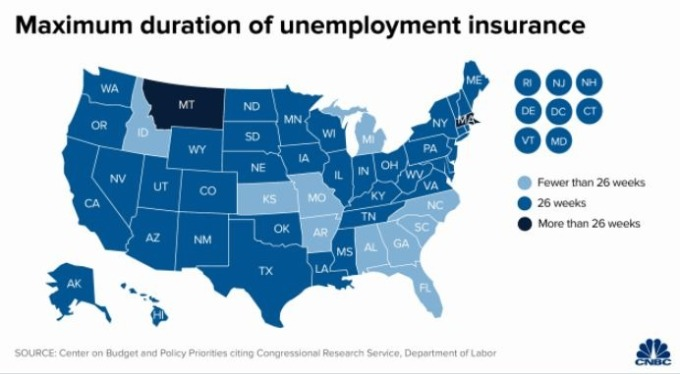 美國各州失業救濟金請領週數 (圖片: cnbc)