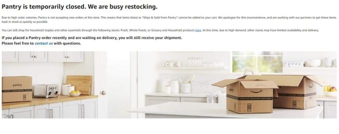 亞馬遜的Pantry網站宣布關閉(圖片:CNBC截自亞馬遜)