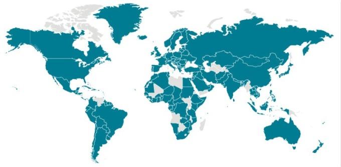 全球疫情蔓延情況 (青:出現確診國家) (圖片:CDC)