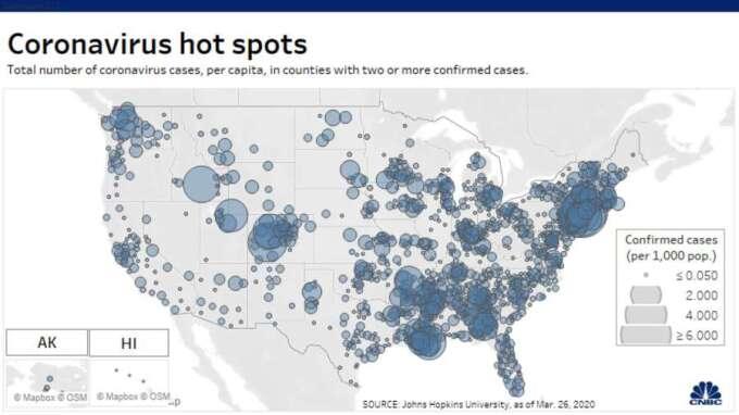 美國確診病例分布圖。(來源: CNBC)