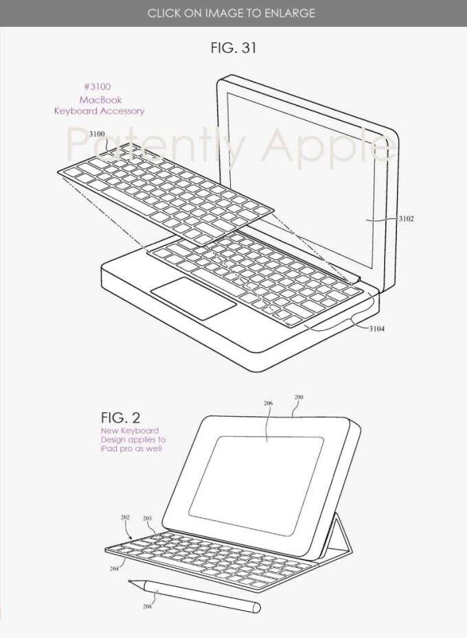 鍵盤配件專利 (圖片:patentlyapple)