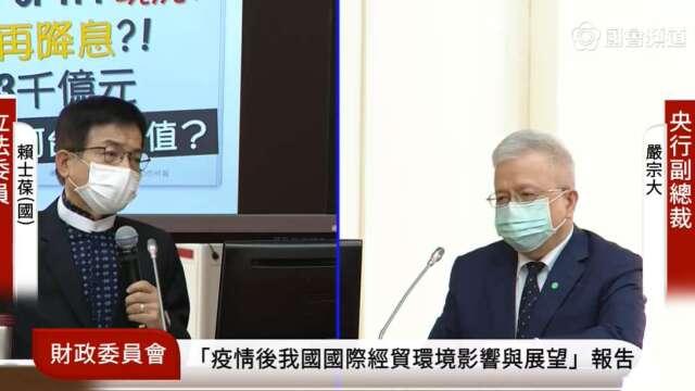 台灣央行副總裁嚴宗大赴立院備詢。(翻攝立法院議事轉播畫面)