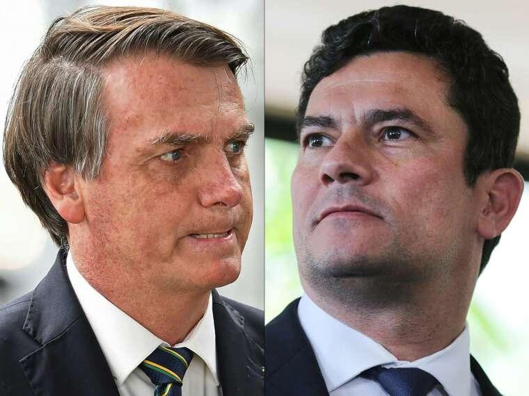 巴西總統波索納洛 (左) 和司法部長莫羅 (右)。(圖: AFP)