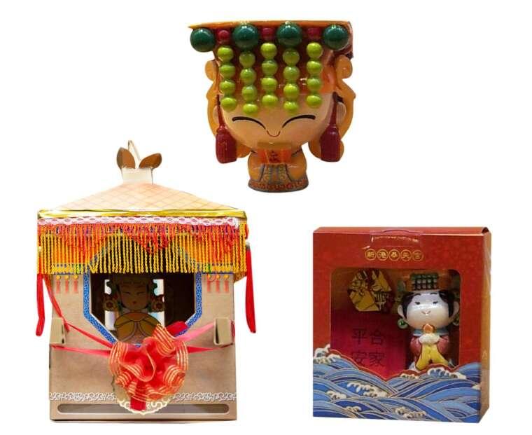 神明公仔、文創商品,是臺灣民間信仰的年輕化特色,包括鎮瀾宮、奉天宮都推出媽祖公仔與系列文創。圖片來源│張珣