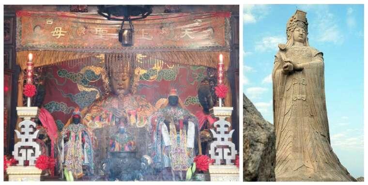 臺南大天后宮的金面媽祖像(左)與福建湄洲島的媽祖雕像(右)。臺灣媽祖神像多半是婦女貌,垂眼坐姿,符合古代朝廷冊封的天后禮制;中國版則偏向少女貌,造型也較現代感,比較少傳統型貌的神像。 圖片來源│Wiki