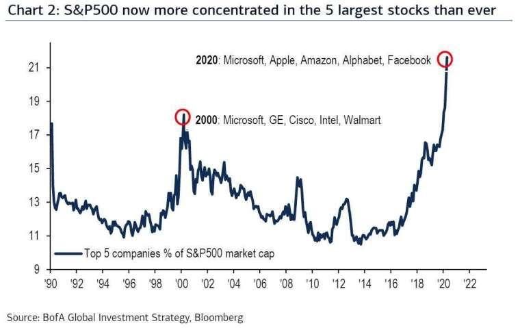 前 5 大股票占市場比重 (圖表取自 Zero Hedge)