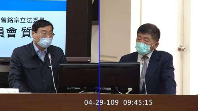 國民黨立委曾銘宗(左)、衛福部長陳時中(右)。(圖:擷自立法院隨選視訊)