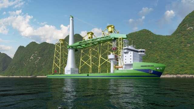 離岸風電大型浮吊船示意圖。(圖:台船提供)