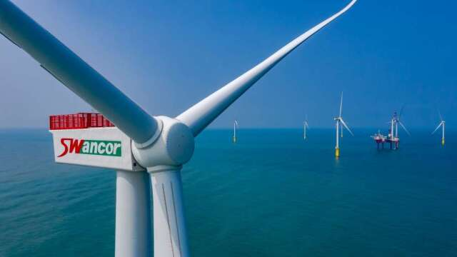 台灣首座離岸示範風場海洋風電,已於去年10月完工。(圖:上緯投控提供)