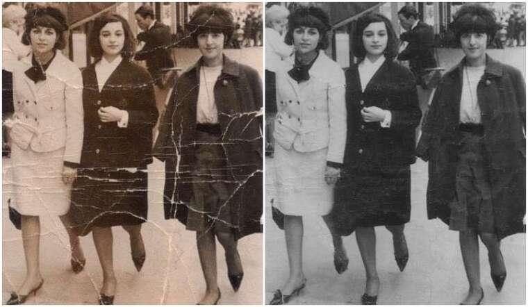 充滿歲月痕跡的老照片 (左),按一個鍵,色調不再泛黃、摺痕也消失無蹤 (右) 資料來源|廖弘源 圖說設計|黃楷元