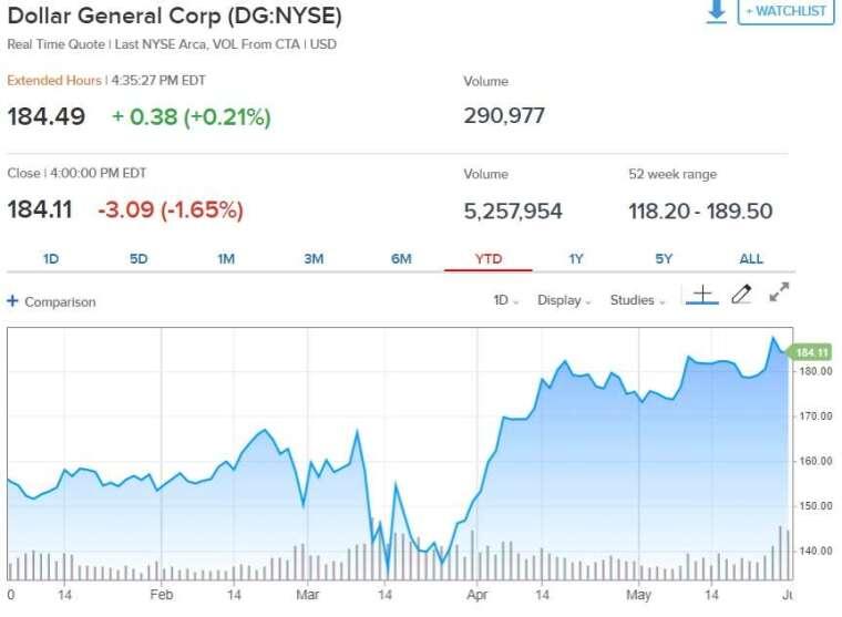 Dollar General 今年來股價走勢 (來源: CNBC)