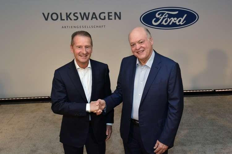 Volkswagen 汽車 CEO Herbert Diess 與 Ford 汽車總裁兼 CEO Jim Hackett