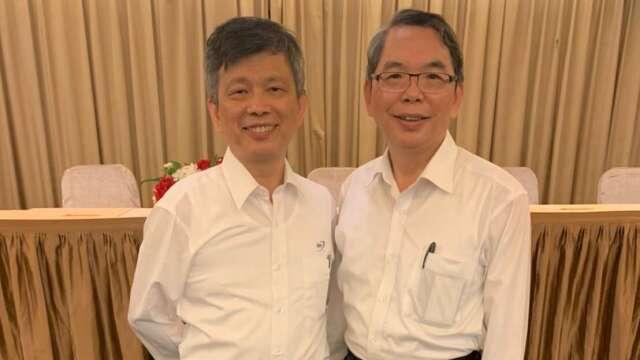 精測今年進行董事改選,右為新任董事長林國豐丶左為總經理黃水可。