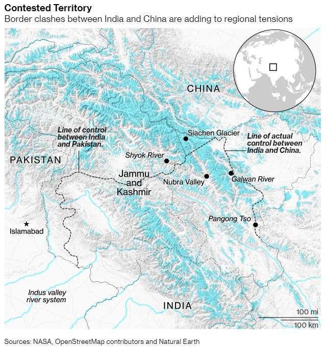 中印邊界分布圖 (圖: Bloomberg)