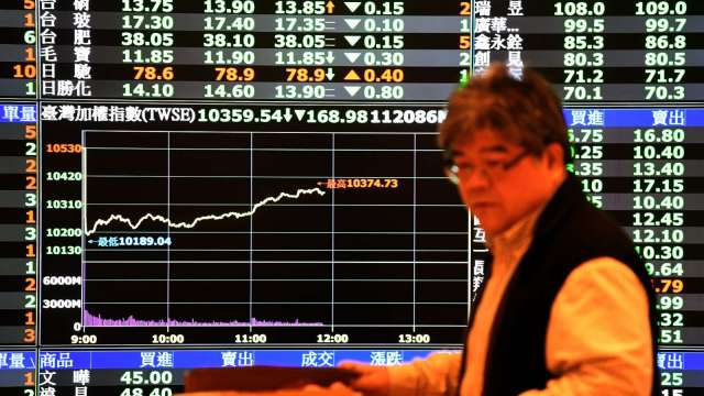 台股 18 日終場小漲 13.74 點,收在 11548.33 點,成交金額 1824.76 億元。(圖:AFP)