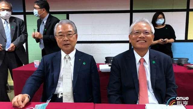 仁寶董事長許勝雄(左)、總經理翁宗斌(右)。(鉅亨網記者劉韋廷攝)