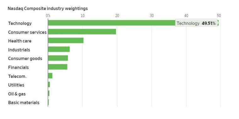 那斯達克各類股占比。來源: WSJ