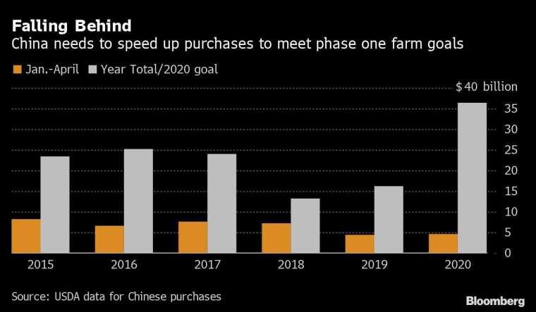 橘:中國 1-4 月的對美農產品採購額 灰:中國對美的農產品採購目標 圖片:Bloomberg
