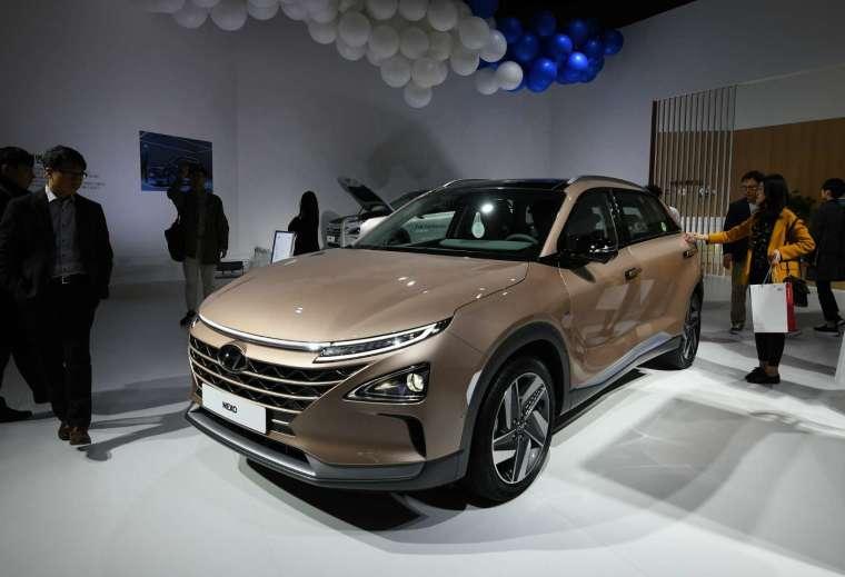 現代汽車的氫燃料電池車款「Nexo」(圖片:AFP)
