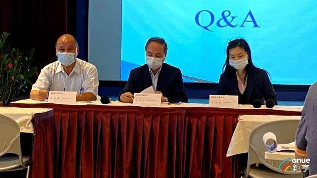 左至右為三洋電經理林陳勝、副總紀安郎及財務協理林張惠。(鉅亨網記者沈筱禎攝)