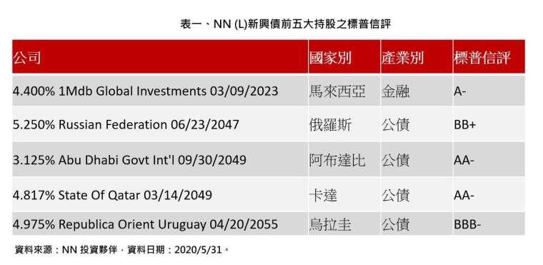 資料來源:NN 投資夥伴,資料日期:2020/5/31。