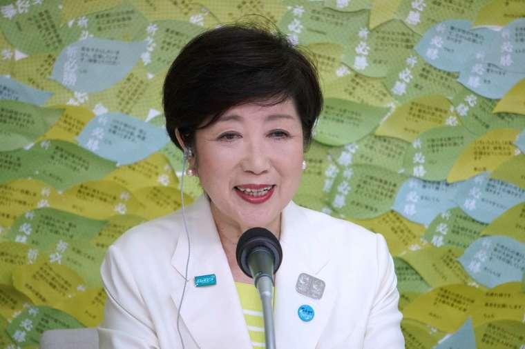 小池百合子 7 月 5 日在東京都知事選舉中高票連任 (圖片:AFP)