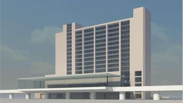 新北環狀線板橋站外觀模擬透視圖。(圖:新北市捷運工程局提供)