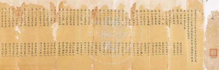 小金榜主要呈給皇帝閱覽,高約 32.4 、長約 386 公分,圖中這份榜單的人物大有來頭:第二甲三十六名是李鴻章、三十九名是沈葆楨。 圖片來源│中研院歷史語言研究所