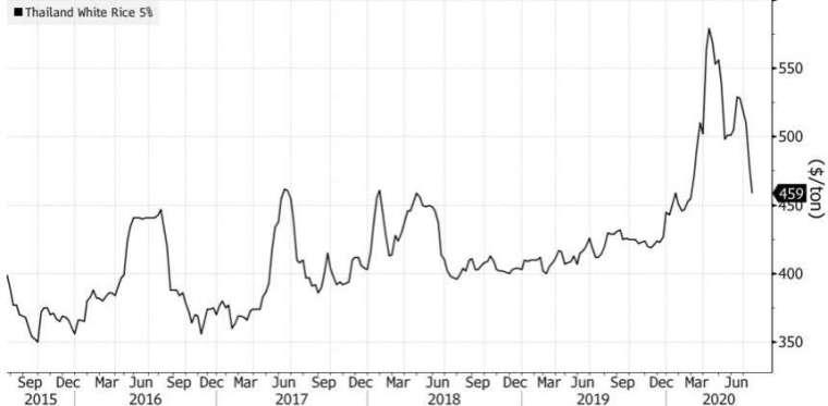 泰國米價格走勢。(來源:Bloomberg)