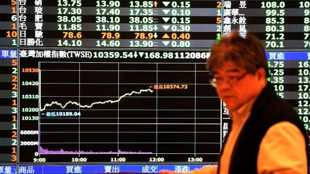 台股尾盤急跌驚守5日線。(圖:AFP)