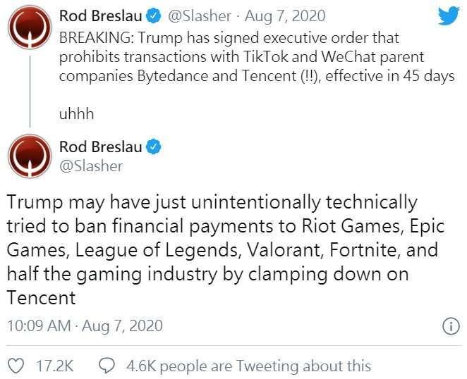 推特上有關微信禁令的討論。