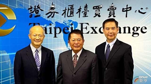 左至右為杏國總經理蘇慕寰、集團董事長李志文、杏輝總經理白友烺。(鉅亨網記者沈筱禎攝)