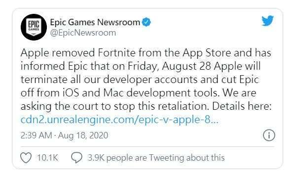 Epic Games 推文 (圖片: 推特)