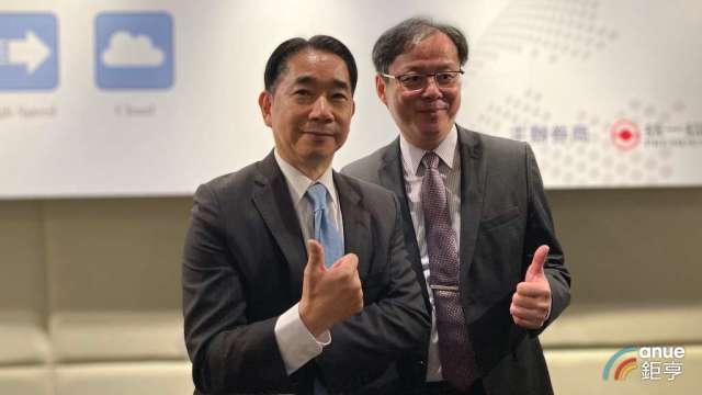 康全電訊董事長任冠生(左),以及總經理邱裕昌。(鉅亨網記者彭昱文攝)