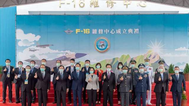 F-16維修中心成立 漢翔:整體產業效益將上看2000億元。(總統府提供)