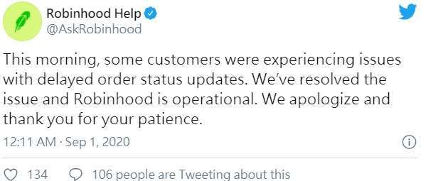 Robinhood 承認在部署修補程式後出現一個問題 (圖片:Robinhood 推特)