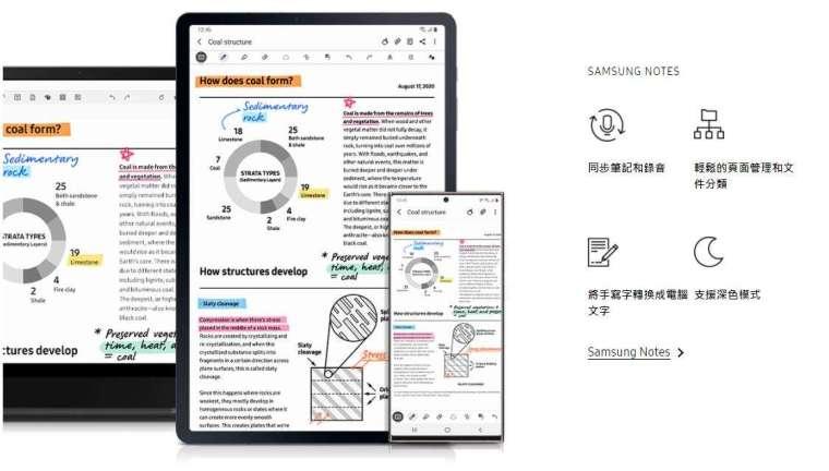 善用內建 Samsung Notes APP 的同步語音、筆記總管、資料夾分層等功能,能夠輔助筆記做得更加快速與準確。