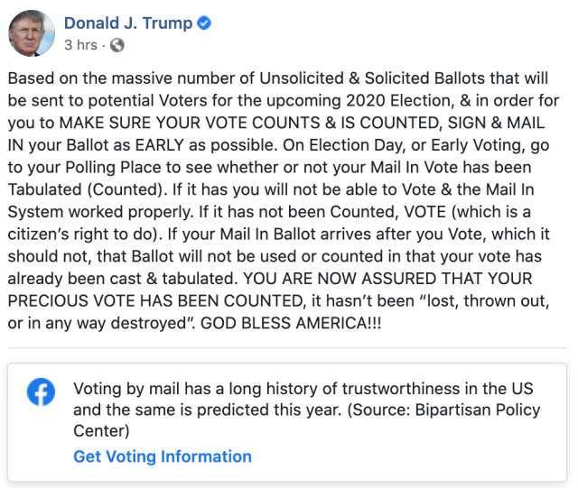 川普在臉書發表大選貼文 (圖片: FB)