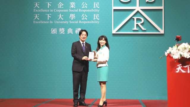 玉山金控13度榮獲「天下企業公民獎」金融業第1名。(圖:玉山金控提供)