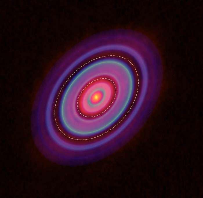 這張照片是拍攝分子譜線,得到金牛座 HL 原行星盤的氣體分布,同樣有環與間隙。 圖片來源│ ALMA (ESO/NAOJ/NRAO), Yen et al.