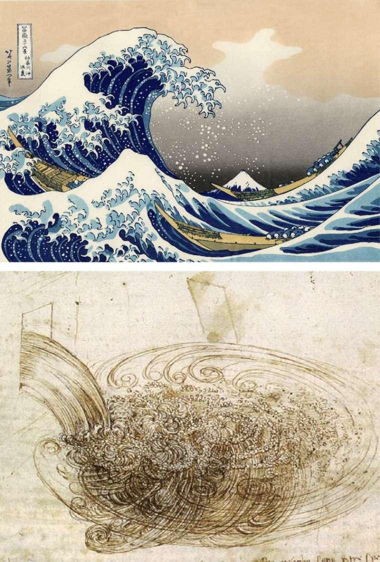 從葛飾北齋浮世繪的海浪畫面 (上),以及達文西繪製的紊流細節 (下),可看見真實流體的結構有多複雜。 圖片來源│維基百科