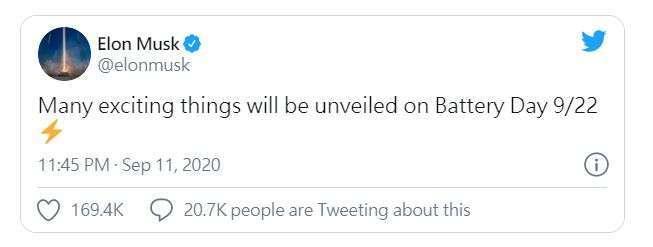 馬斯克在推文上宣告電池日 (圖片: 推特)