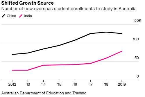 赴澳印度新留學生各年數量 (圖: Bloomberg)