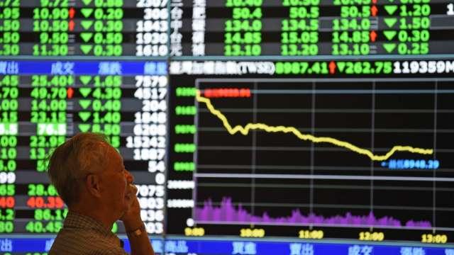 台股量縮跌破12800點 外資連3賣 三大法人聯手賣超130.3億元。(圖:AFP)