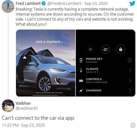 特斯拉車主抱怨網路全面中斷,影響用車體驗。(圖片:推特)