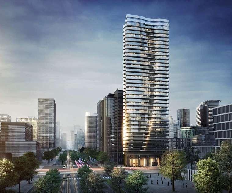 外觀由玫格國際團隊設計,未來將是中正金融特區的地標商辦。圖 / 興富發提供