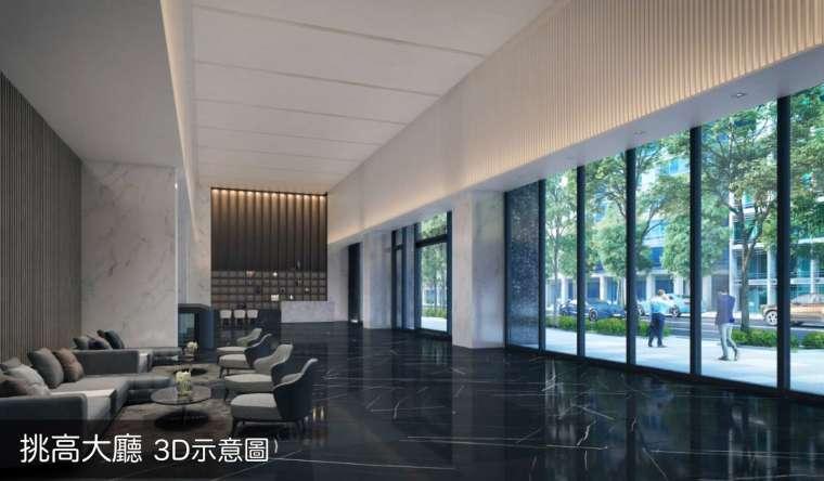 新型商辦大廳寬敞,且有專業的物業安全管理,電子門禁系統。圖 / 興富發提供