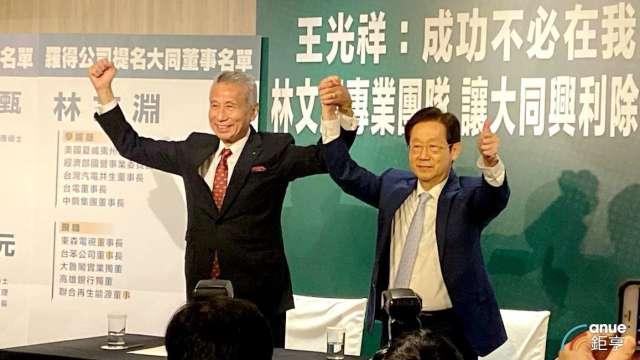 左為大同市場派三圓建設董事長王光祥,右為台苯及東森電視董事長林文淵。(鉅亨網記者沈筱禎攝)