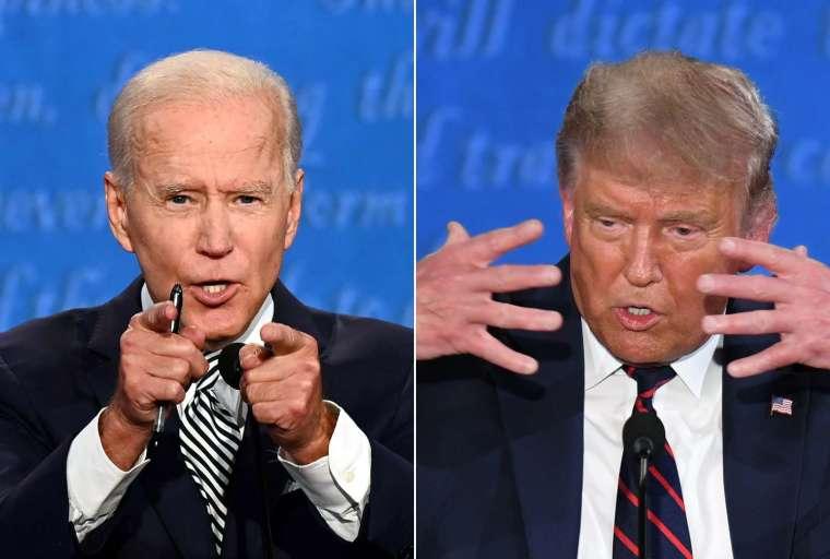 拜登和川普在周三的電視辯論會中嚴辭交鋒。圖取自 AFP